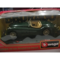 Burago 1/24 Jaguar 120 Roadster in BRG a/mint in box